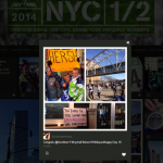 A close-up view of the #NYCHalf social hub.